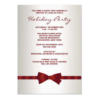 Ivory Red Bow Tie Corporate Christmas Party Card