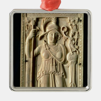 Ivory relief tablet Silver-Colored square decoration