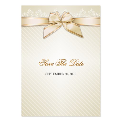 Ivory Ribbon Gold Stripes Save The Date MiniCard Business Card