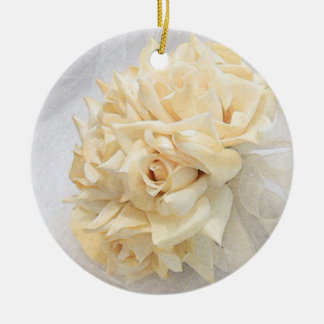 Ivory Rose Bouquet Christmas Ornament