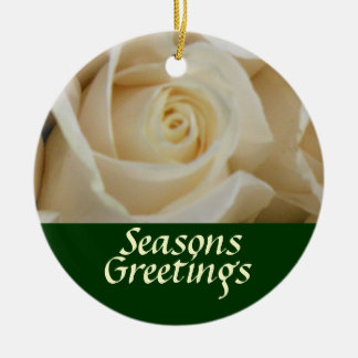 Ivory Rose Christmas Tree Ornament