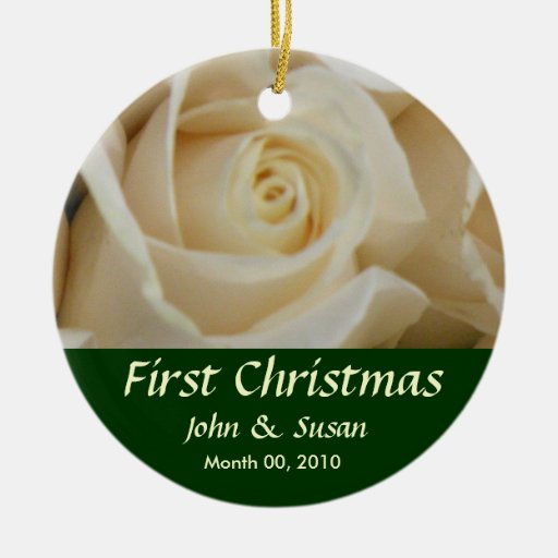 Ivory Rose First Christmas Ornament
