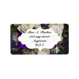 Ivory Rose & purple return address label