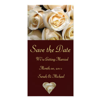 Ivory Rose Wedding Announcement Card Picture Card
