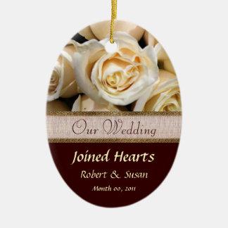 Ivory Rose Wedding Favor Keepsake Ceramic Oval Decoration