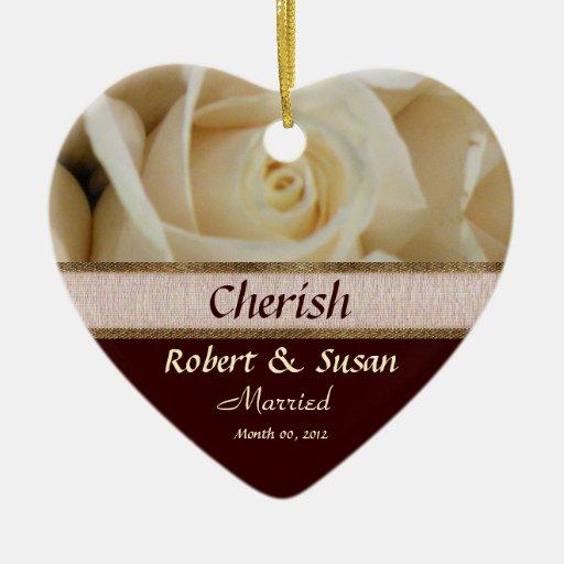 Ivory Rose Wedding Keepsake Ornament