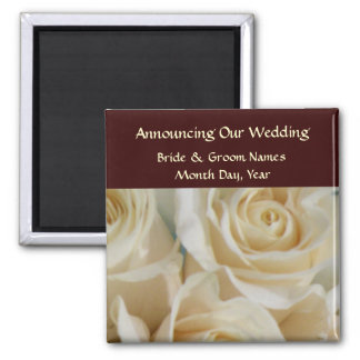 Ivory Roses Wedding Save the Date Magnet