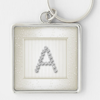 Ivory Shimmer and Sparkle with Monogram Key Chain