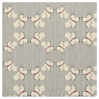 Ivory Terriers on Old-Time Gray Baseball Stripes Fabric