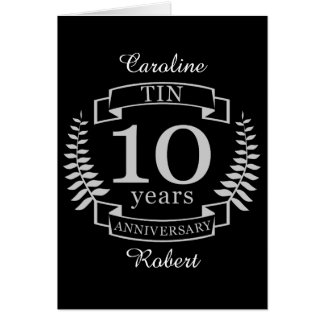 Ivory Traditional wedding anniversary 10 years Card