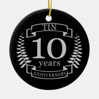 Ivory Traditional wedding anniversary 10 years Ceramic Ornament