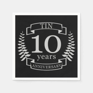 Ivory Traditional wedding anniversary 10 years Disposable Serviettes