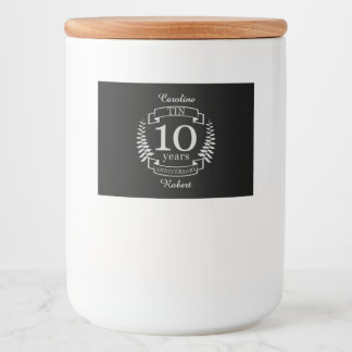 Ivory Traditional wedding anniversary 10 years Food Label