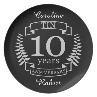 Ivory Traditional wedding anniversary 10 years Plate