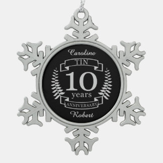 Ivory Traditional wedding anniversary 10 years Snowflake Pewter Christmas Ornament