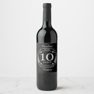 Ivory Traditional wedding anniversary 10 years Wine Label