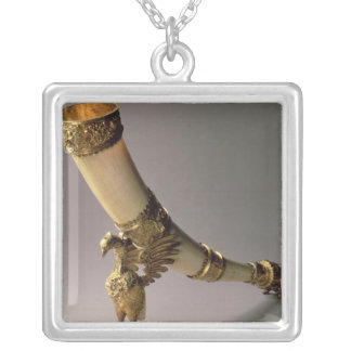 Ivory tusk drinking horn with silver-gilt mounts necklace
