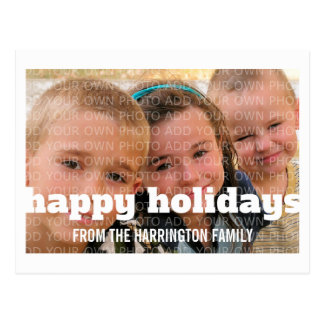 Ivory Typography Happy Holidays Photo Postcard