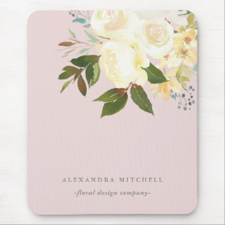 Ivory Watercolor Florals on Blush Mouse Pad