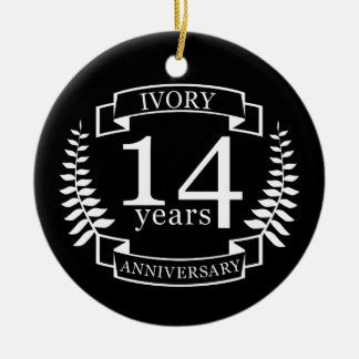 Ivory wedding anniversary 14 years ceramic ornament