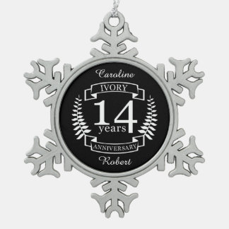 Ivory wedding anniversary 14 years snowflake pewter christmas ornament