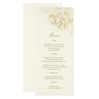 Ivory Wedding Menu Card | Gold Floral Peony