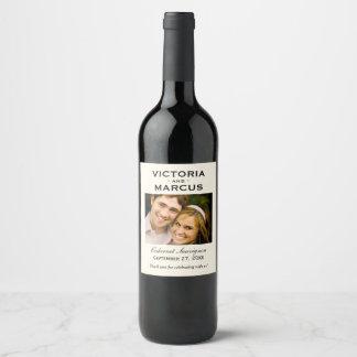 Ivory Wedding Photo Wine Bottle Favour Wine Label