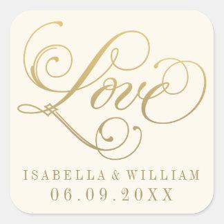 Ivory Wedding Stickers   Love in Gold Script