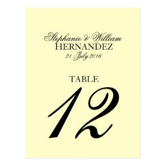 Ivory Wedding Table Number Postcard