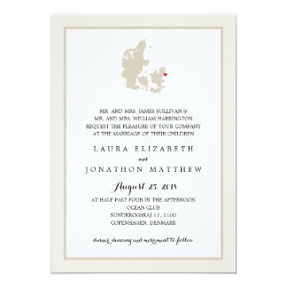 Ivory & White Denmark Map | Wedding Card