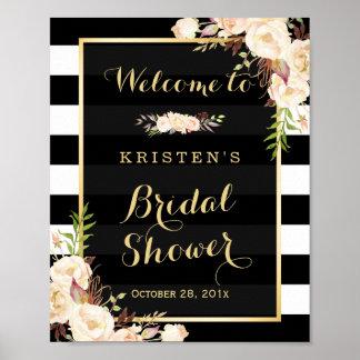 Ivory White Floral Stripes Bridal Shower Sign Poster