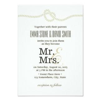 Ivory White Mr. & Mrs. Tying the Knot Wedding 5x7 Paper Invitation Card