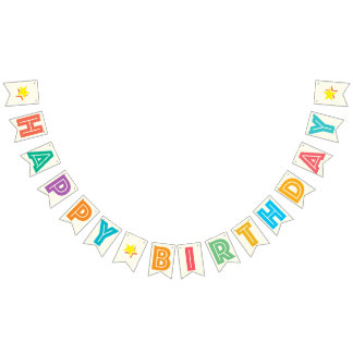 IVORY WHITE & MULTICOLOR TEXT ☆ HAPPY ☆ BIRTHDAY ☆ BUNTING