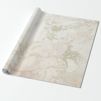 Ivory White Pink Gray Silver Marble Stone Brushes Wrapping Paper