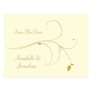 Ivory with Gold Swirls Save The Date Postcard