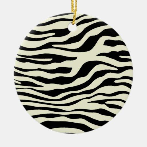 Ivory Zebra Stripes Animal Print Ornaments