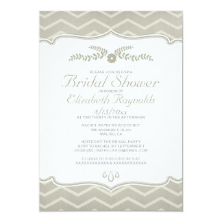 Ivory Zigzag Bridal Shower Invitations