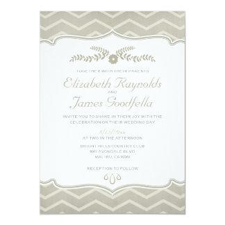 Ivory Zigzag Wedding Invitations