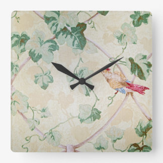 ivy and bird design retro wallpaper square wall clock