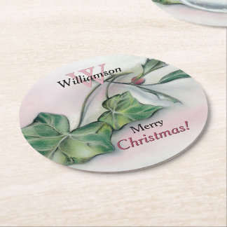 Ivy and Holly Monogrammed Christmas Round Paper Coaster