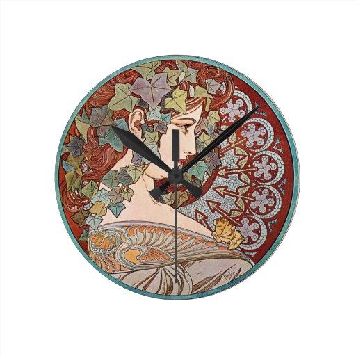 Ivy Art Nouveau Round Clocks
