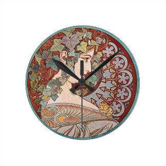 Ivy Art Nouveau Round Clock