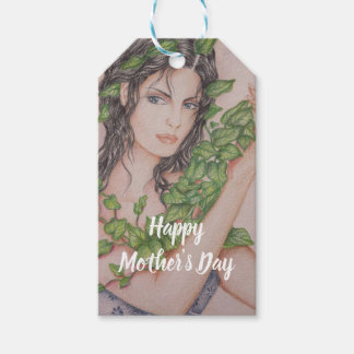 Ivy Bride Girl Portrait Pencil Sketch Mother's Day Gift Tags
