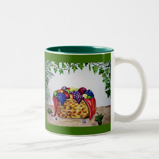 Ivy & Fruit Basket Two-Tone Coffee Mug