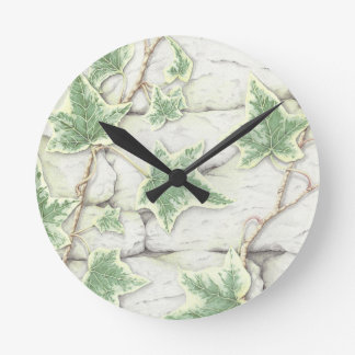 Ivy on a Dry Stone Wall in Pencil Clock