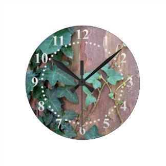 ivy on tree wall clock