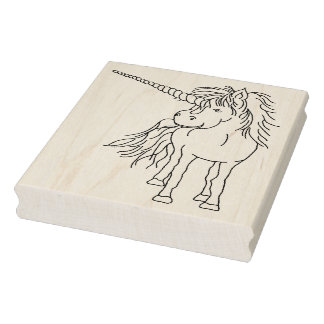 """IWD Julle the Unicorn 4"""" x 5"""" Rubber Stamp"""