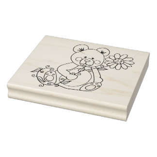 "IWD Teddy Two 4"" x 5"" Rubber Stamp"