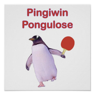 iWin uLose Penguin Ping Pong Poster