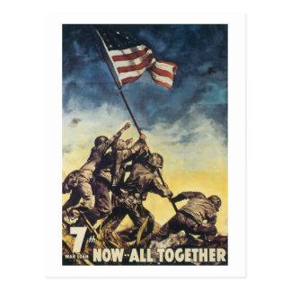 Iwo Jima flag raising colour war graphic vintage Postcard
